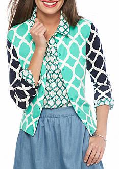 crown & ivy™ Petite Size Quatrefoil Print Cardigan