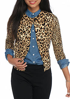 crown & ivy™ Petite Animal Print Cardigan