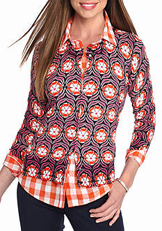 crown & ivy™ Petite Size Poppy Medallion Print Cardigan