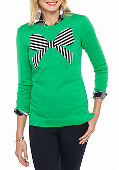 crown & ivy™ Petite Size Stripe Bows Intarsia Sweatshirt