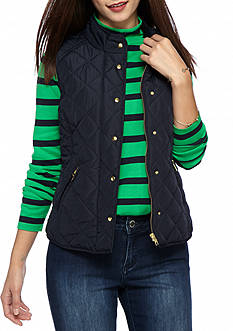 crown & ivy™ Petite Size Solid Puffer Vest