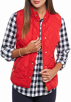 crown & ivy™ Petite Solid Puffer Vest