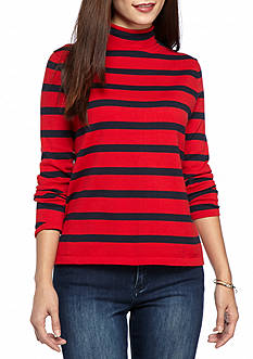 crown & ivy™ Petite Size Mock Neck Pullover