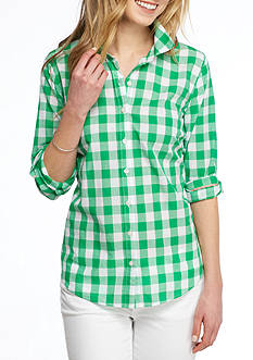 Crown & Ivy™ Petite Festive Gingham Shirt