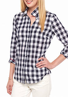 crown & ivy™ Petite Size Festive Gingham Shirt