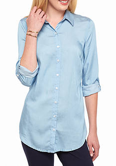 crown & ivy™ Petite Long Sleeve Chambray Tunic