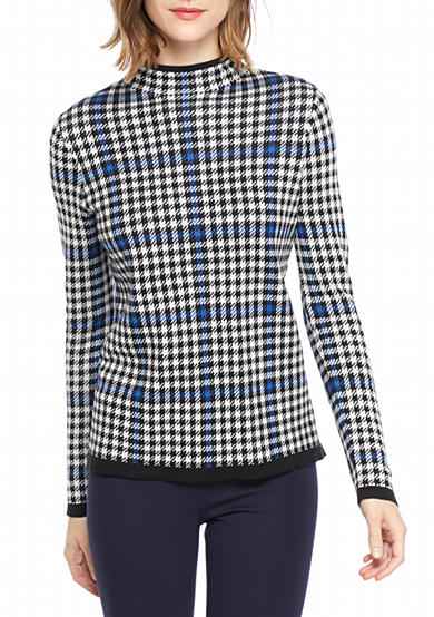 crown & ivy™ Petite Size Houndstooth Turtleneck Sweater
