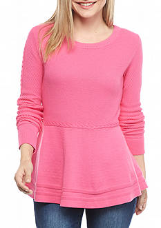 crown & ivy™ Petite Mixed Stitch Peplum Sweater