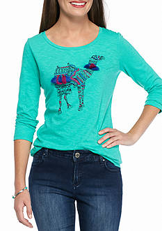 crown & ivy™ Petite Size Embellished Camel 3/4 Sleeve Tee