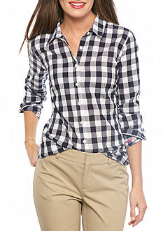 crown & ivy™ Petite Gingham Button Down Shirt