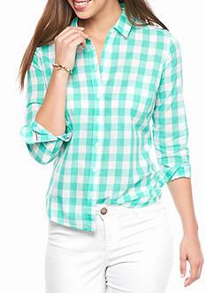 Crown & Ivy™ Petite Gingham Button Down Shirt