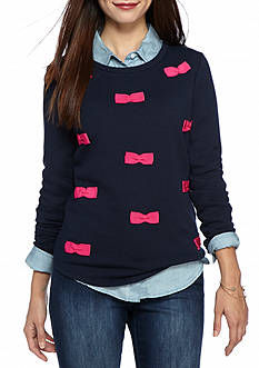 crown & ivy™ Petite Size Bows Sweatshirt