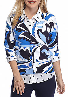 Crown & Ivy™ Women's Petite Long Sleeved Printed Cardigan