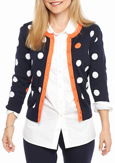 Crown & Ivy™ Petite Size Contrast Scattered Dot Cardigan