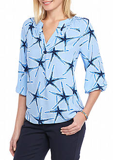 crown & ivy™ Petite Size Three Quarter Sleeve Starfish Print Blouse