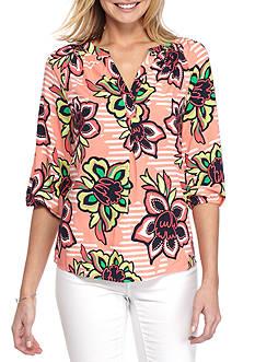Crown & Ivy™ Petite Size Boca Bloom 3/4 Sleeve Peas Top