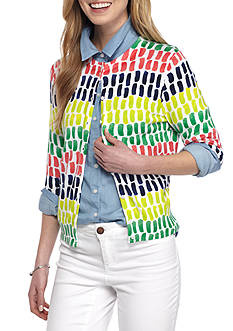 Crown & Ivy™ Petite Size Paint Party Print Cardigan