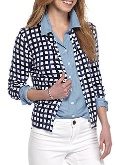 Crown & Ivy™ Petite Painter Check Cardigan