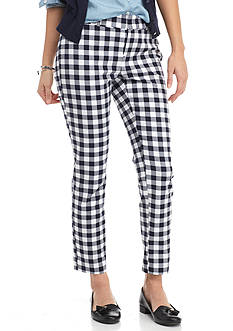 crown & ivy™ Petite Gingham Blue Weave Pant