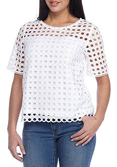 Crown & Ivy™ Petite Size Short Sleeve Schifly Woven Top