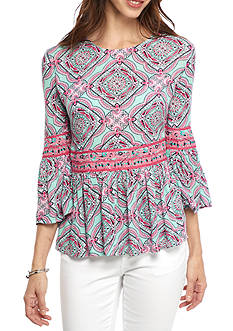 Crown & Ivy™ Petite Print Peplum Shirt