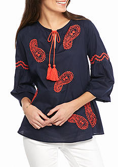 crown & ivy™ Petite Size Embroidered Paisley Peasant Top