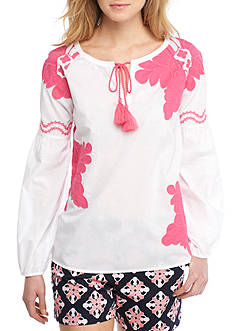 Crown & Ivy™ Embroidered Floral Peasant Top