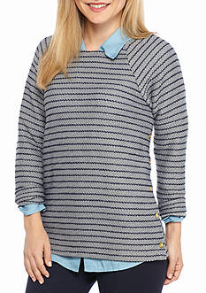 Crown & Ivy™ Petite Size Side Button Textured Sweater