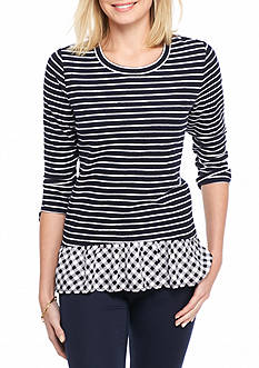 Crown & Ivy™ Petite Striped Peplum Two-In-One Top