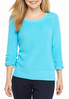 Crown & Ivy™ Petite Size Long Sleeve Elephant Panel Sweater