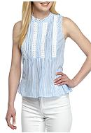 Crown & Ivy™ Petite Woven Stripe Top