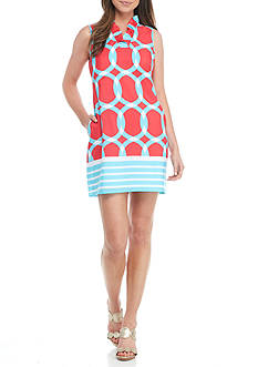 Crown & Ivy™ Petite Sleeveless Print Ruffle Neck Dress