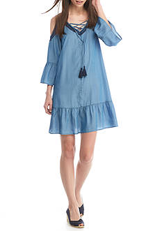 Crown & Ivy™ Petite Open Shoulder Chambray Dress