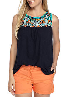 Crown & Ivy™ Petite Embroidered Yoke Tank Top