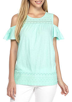 Crown & Ivy™ Petite Knit Cold Shoulder Top