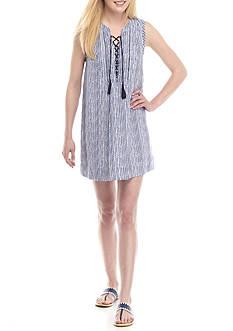 Crown & Ivy™ Petite Sleeveless Stripe Linen Dress