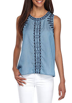 Crown & Ivy™ Petite Sleeveless Embroidery Top