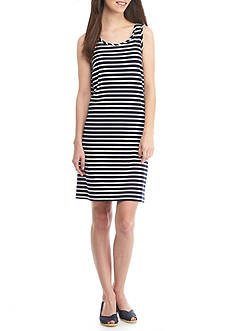 Crown & Ivy™ Petite Sleeveless Stripe Knit Dress
