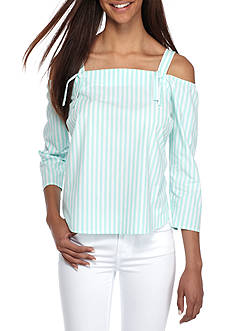 Crown & Ivy™ Petite Woven Cold Shoulder Top