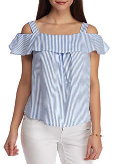 Crown & Ivy™ Petite Size Button-back Cold Shoulder Top