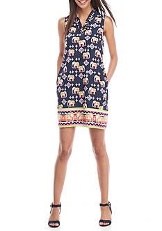 Crown & Ivy™ Petite Sleeveless Ruffle Neck Dress