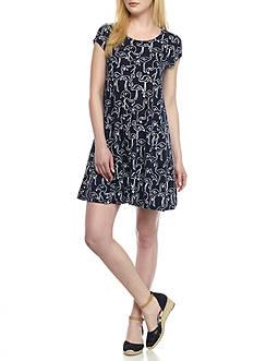 Crown & Ivy™ Petite Flamingo Print Knit Dress