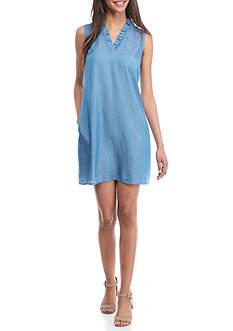 Crown & Ivy™ Petite Sleeveless Ruffle Front Dress
