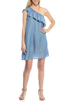 Crown & Ivy™ Petite One Shoulder Chambray Dress