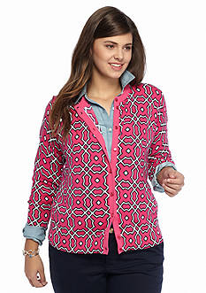 crown & ivy™ Plus Size Medallion Medley Cardigan