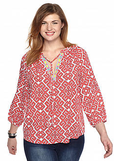 crown & ivy™ Plus Size Twin Print Peasant Top