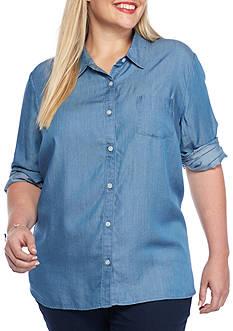 Crown & Ivy™ Plus Size Stripe-Back Tunic