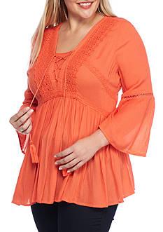 crown & ivy™ Plus Size Lace-Up Crochet Top