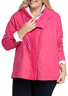 Crown & Ivy™ Plus Size Roll Sleeve Anorak Jacket