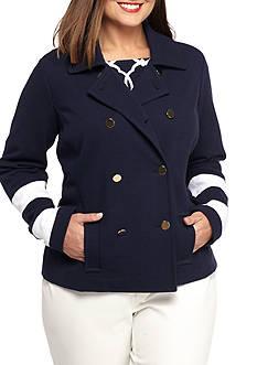 Crown & Ivy™ Plus Size Textured Colorblock Sleeve Jacket